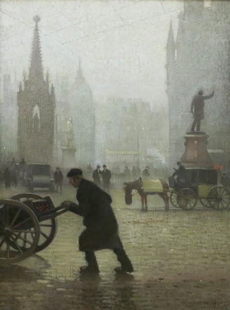 1910+Albert+Square,+Manchester+oil+on+jute+152+x+114+cm+Manchester+City+Galleries+UK