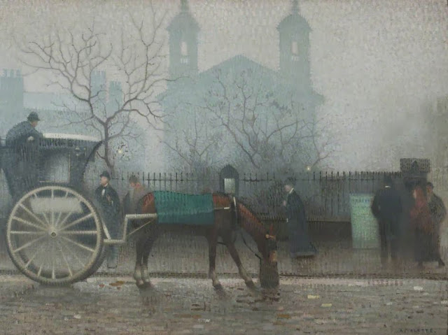 1910+Hansom+Cab+at+All+Saints+oil+on+kute+115.5+x+155.3+cm+Manchester+City+Galleries+UK