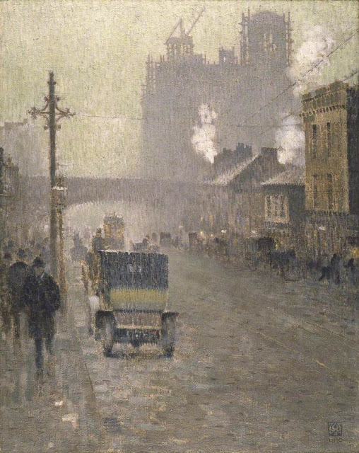 1910+Oxford+Road,+Manchester+oil+on+canvas+127.4+x+1010.5+cm+Manchester+City+Galleries+UK