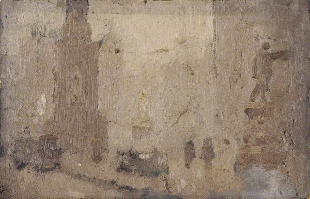 1910c+Study+for+'Albert+Square'+oil+on+board+14.5+x+23+cm+Manchester+City+Galleries+UK