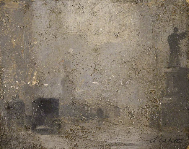 1910c+Study+for+'Albert+Square'+oil+on+cardboard+12+x+15.5+cm+Manchester+City+Galleries+UK