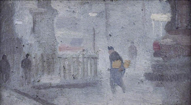 1910c+Study+for+'Base+of+Statues,+Albert+Square'++oil+on+bpard+8+x+15+cm+Manchester+City+Galleries+U…