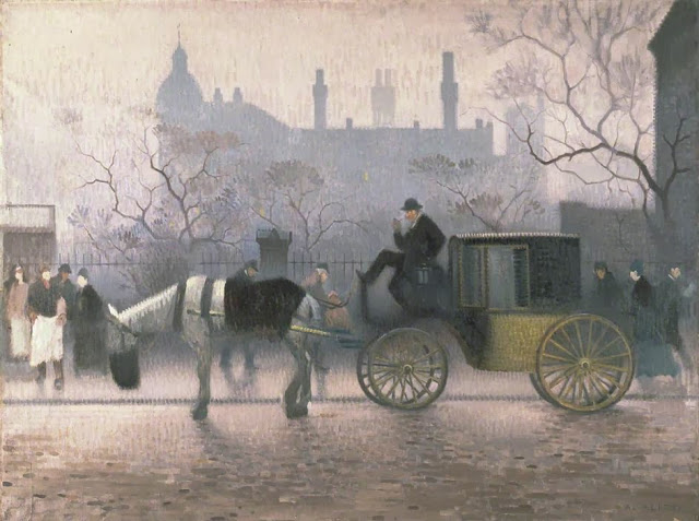 1911+Old+Cab+at+All+Saints,+Manchester+oil+on+jute+115.5+x+155.3+cm+Manchester+City+Galleries+UK