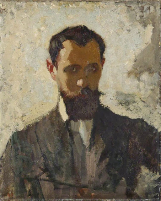 1912c+Self+Portrait+Study+oil+on+canvas+mounted+on+board+60.8+x+48+cm+Manchester+City+Galleries+UK