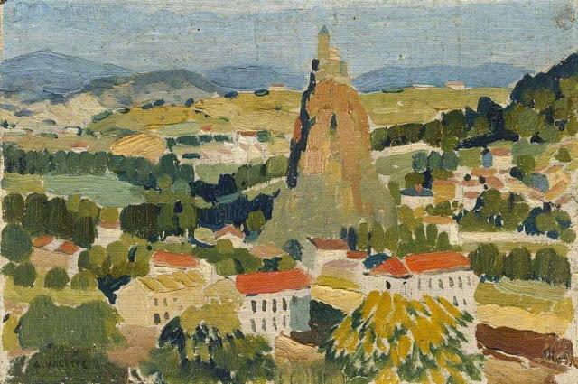 1920-42+Le+Puy+oil+on+canvas+14.6+x+23+cm+Manchester+City+Galleries+UK