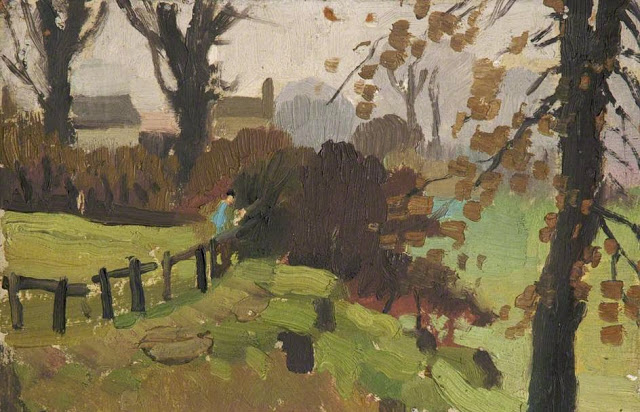 1922+Figures+by+a+Fence+oil+on+board+15+x+23+cm+University+of+Salford+UK