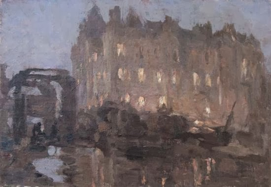 Buildings+and+Canal,+Dusk+oil+on+board+16.6+x+24.1+cm
