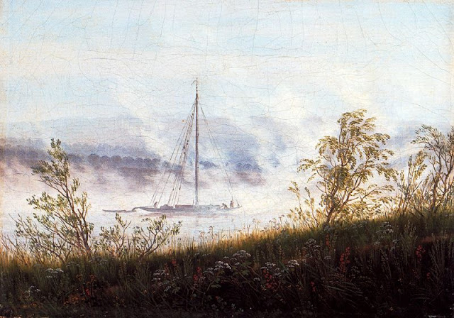 1820-25, Ship on the River Elbe in the Early Morning Mist