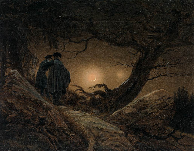 c. 1825-30, Two Men Contemplating the Moon