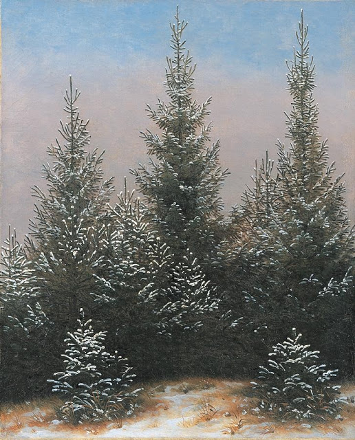 c. 1828, Fir Trees in the Snow