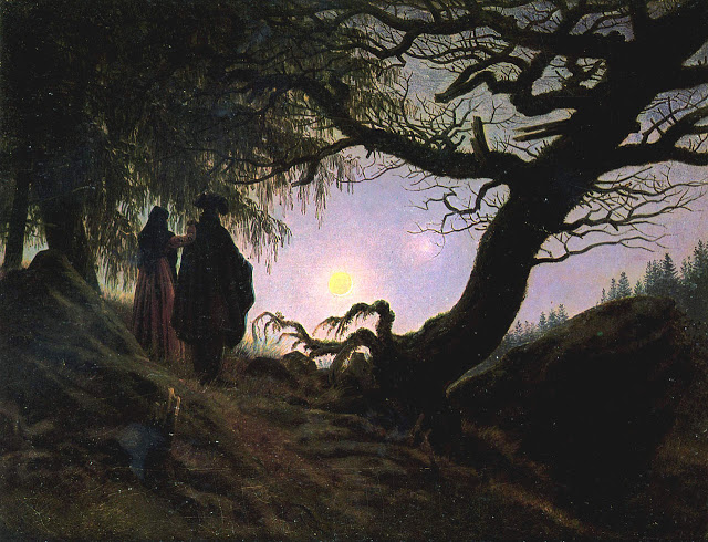 c. 1830-35, Man and Woman Contemplating the Moon
