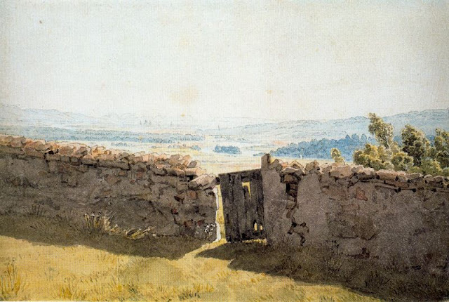 1837-40, Landscape with Crumbling Wall