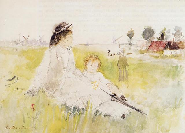 Dziewczyna z dzieckiem na trawie, 1875