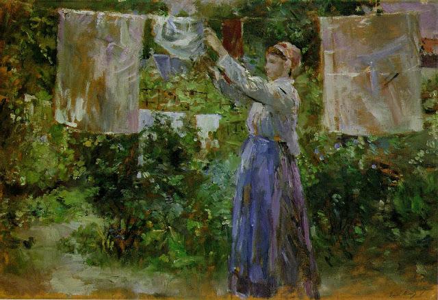 Kobieta wieszająca pranie, 1881