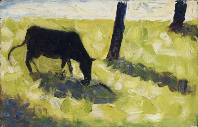 Georges Seurat Black cow in a meadow, 1881