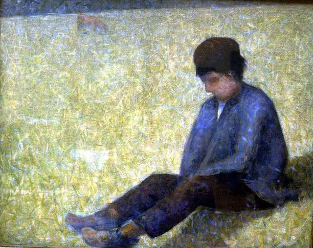 Georges Seurat Boy sitting on the grass pontaubert 1882-83