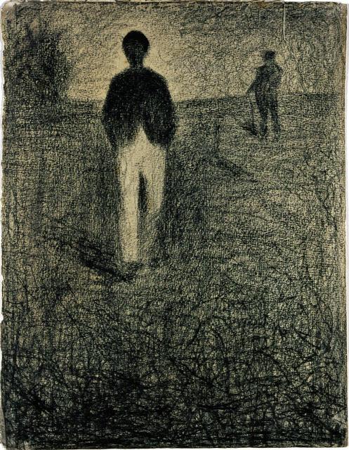 Georges Seurat Two men walking in a field, 1882-84