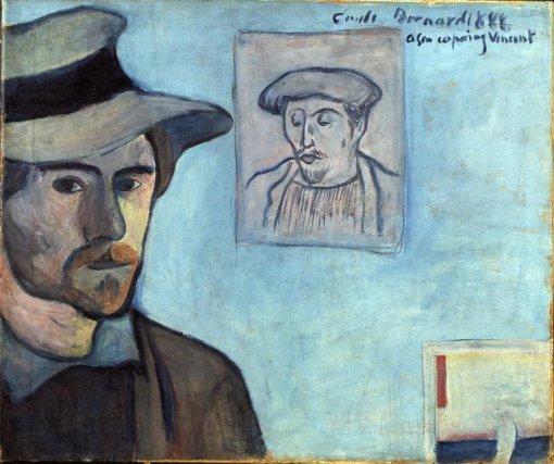 1888, Self-portrait with portrait of Paul Gauguin, dedicated to Vincent van Gogh