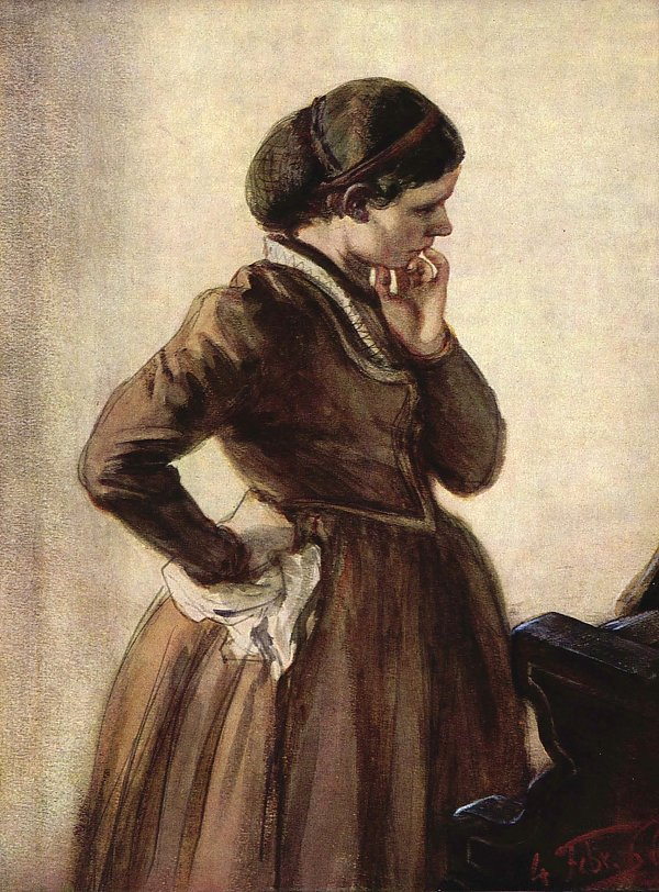 Emilie Menzel am Klavier stehend, 1866