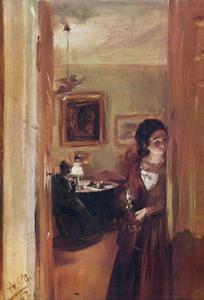 Lilving room with the artists sister, 1847
