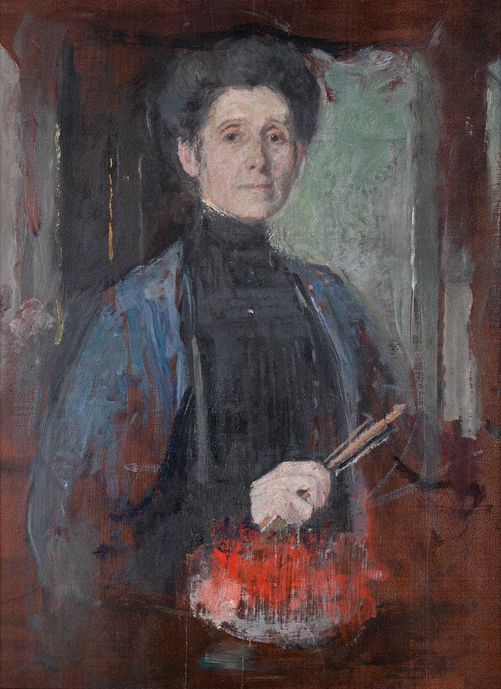 Olga Boznańska, Self-portrait with brush and flowers | c. 1906, oil on panel, Museum of the City of Lodz, Poland | © Krzysztof Musial Collection