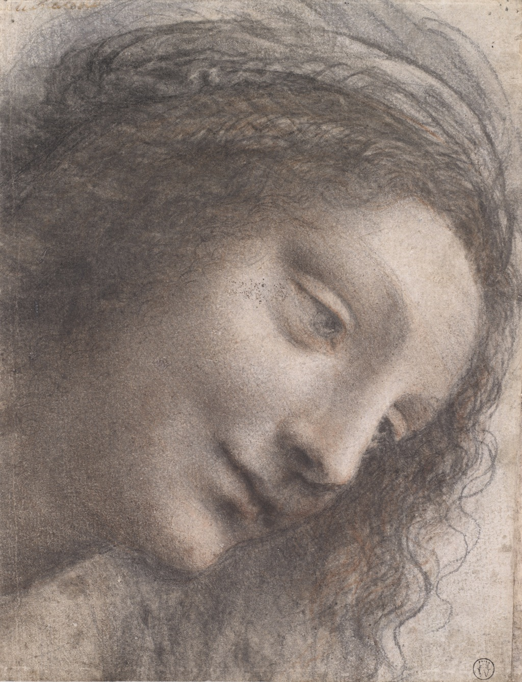 Leonardo da Vinci, The Head of the Virgin in Three-Quarter View Facing Right