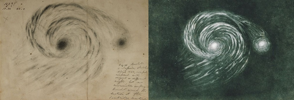 Galaxy M51 drawing – William Parsons, 1845 // illustration from Camille Flammarion's book Astronomie Populaire, 1880