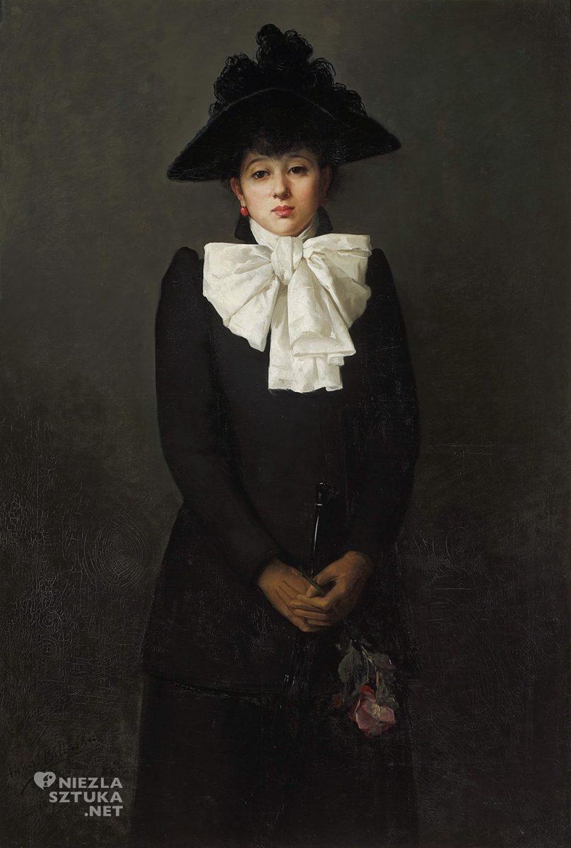 polish art, Anna Bilinska Bohdanowicz, Portrait of a young woman with a rose in her hand, polish painter, polish museum, Artophilia.com