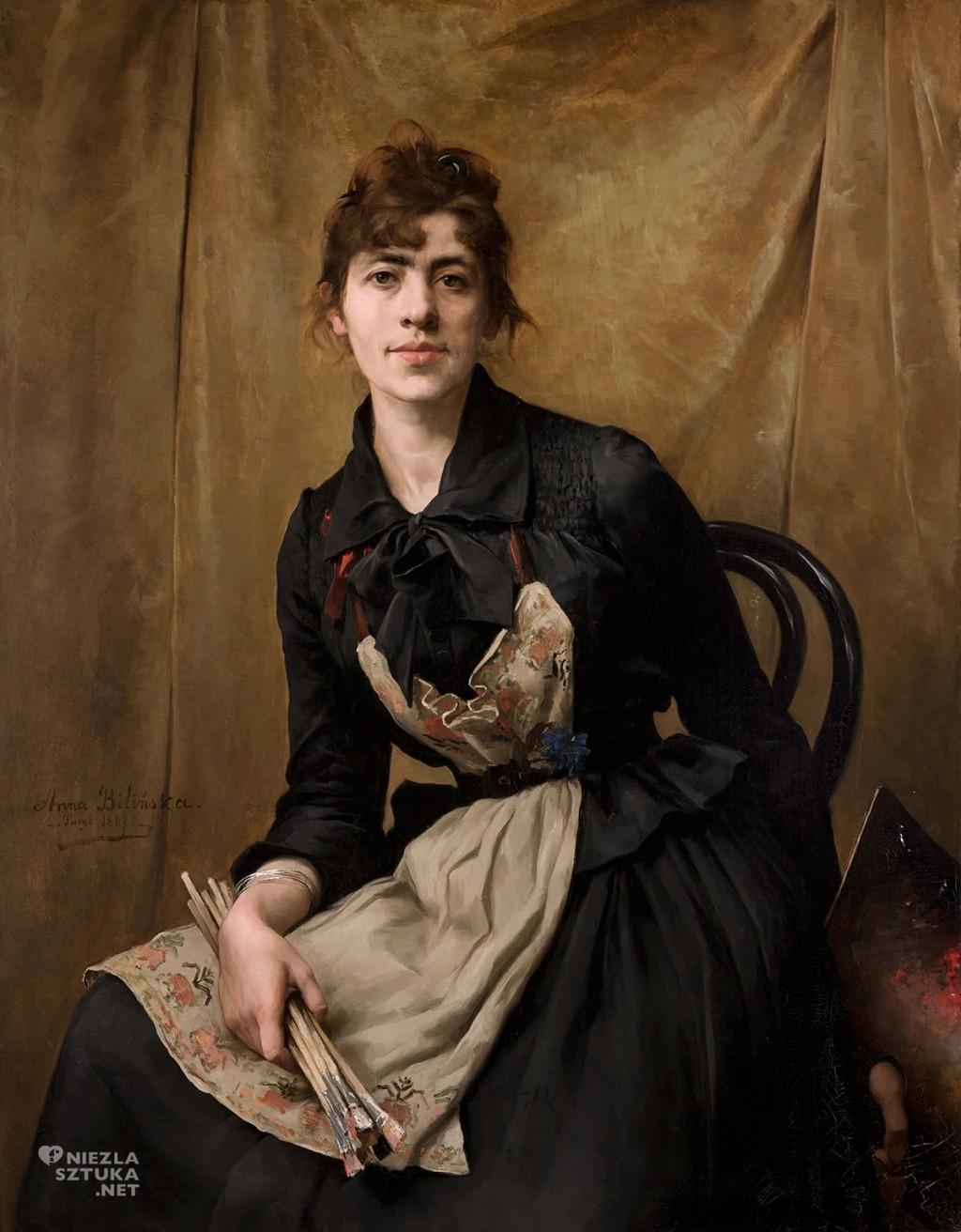 polish art, Anna Bilinska Bohdanowicz, polish painter, Self-Portrait with Apron and Brushes, polish museum, Artophilia.com